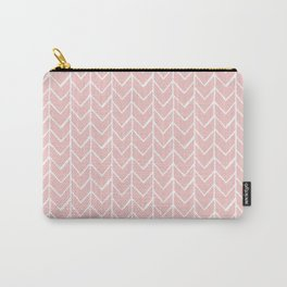 Herringbone Pink Carry-All Pouch