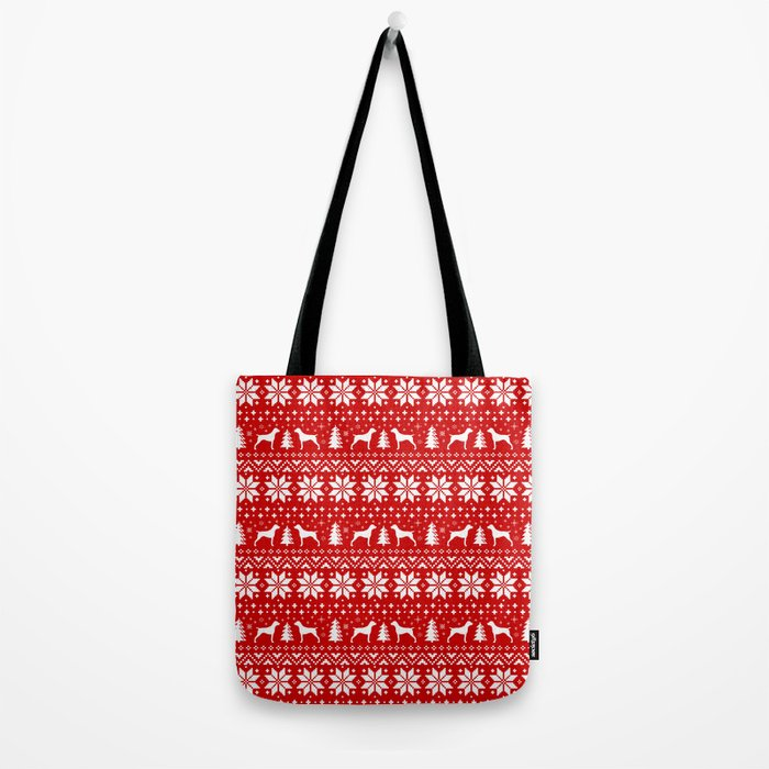 German Shorthaired Pointer Silhouettes Christmas Sweater Pattern Tote Bag