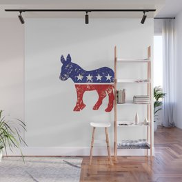 Democrat Original Donkey Distressed Tan Wall Mural
