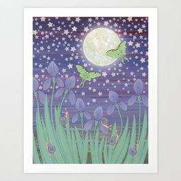 Moonlit stars, luna moths, snails, & irises Art Print