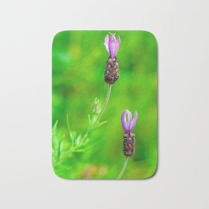 Lavender Two Flowers Bath Mat