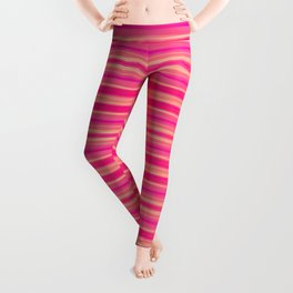 Coral and Pink Brush Stroke Painted Stripes Leggings