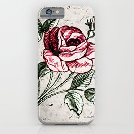 Shabby chic vintage rose and calligraphy iPhone Case