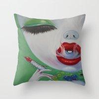 lipstick Throw Pillows featuring Lipstick by Sahara Novotny