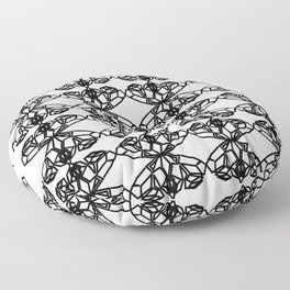 Luxury mandalas black on white Floor Pillow