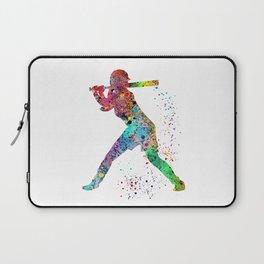 Baseball Softball Player Sports Art Print Watercolor Print Girl's softball Laptop Sleeve
