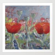 Two Poppies Art Print
