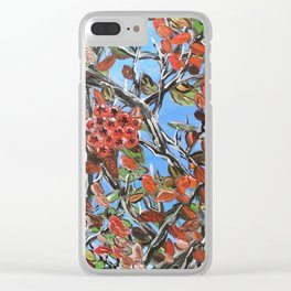 HAWTHORN BERRIES - Original abstract painting by HSIN LIN / HSIN LIN ART Clear iPhone Case