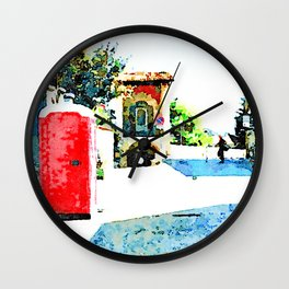 L'Aquila: red cabin and city gate Wall Clock