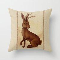 jackalope Throw Pillows featuring Jackalope by Sarah DC