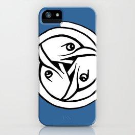 Celtic Art - Bird Head Triskele - on Blue iPhone Case