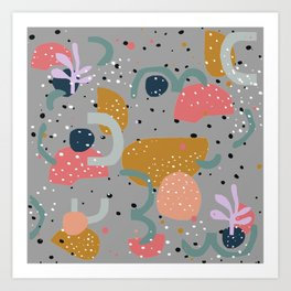 Colorful shapes with confettie dots Art Print