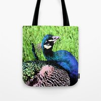 peacock Tote Bags featuring Peacock by BeachStudio