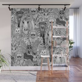 cryptid crowd black white Wall Mural