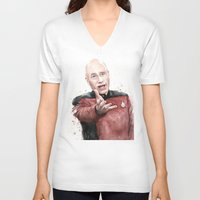 picard V-neck T-shirts featuring Annoyed Picard Meme  by Olechka