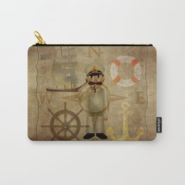 Captain, ship, rudder, anchor, lifebelt, map, compass, old map, messy, messy map Carry-All Pouch