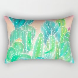 Modern tropical exotic summer cactus illustration pink ombre watercolor Rectangular Pillow