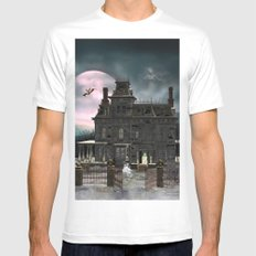 Haunted House 1 White Mens Fitted Tee MEDIUM