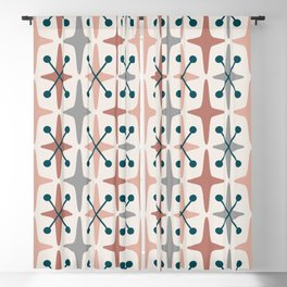 Mid Century Modern Abstract Star Pattern 223 Teal Brown Dusty Rose and Gray Blackout Curtain