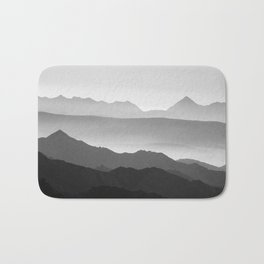 Mountains fog. Sunset Bath Mat