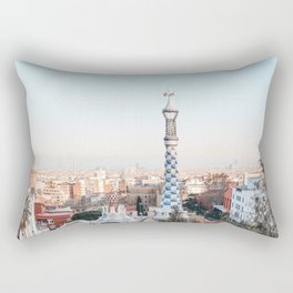 Park Guell by Gaudi at sunset | Barcelona, Spain | Travel Photography Rectangular Pillow