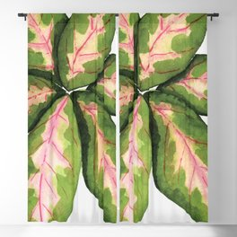 Green and Pink Tropical Leaves Watercolor Painting - Pink and Green Blackout Curtain