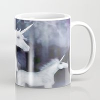 unicorns Mugs featuring FANTASY - Unicorns by valzart