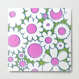 Groovy Daisy Floral in Lime + White Metal Print