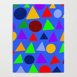 Circle and triangle variation on a design blue Poster