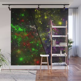 Parallel Universe - Split 'space' artwork showing 2 opposing galaxies Wall Mural