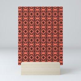 Pantone Living Coral and Black Rings, Circle Heaven 2, Overlapping Ring Design Mini Art Print
