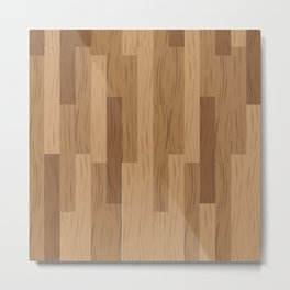 Multi Brown Wood Floor Pattern Metal Print