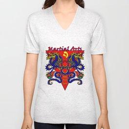 Martial Arts Dragons, Body Mind Spirit  Unisex V-Neck