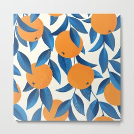 Vintage oranges on the branches with blue leaves hand drawn illustration pattern Metal Print