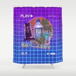 Vaporwave Fiji Bottle Shower Curtain