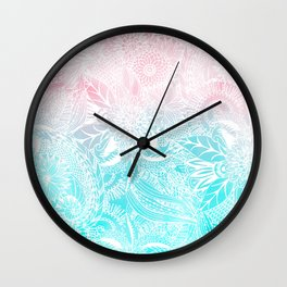whimsy white floral mandala watercolor design Wall Clock