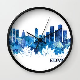 Edmonton Canada Skyline Blue Wall Clock