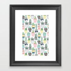 Cute Cacti in Pots Framed Art Print