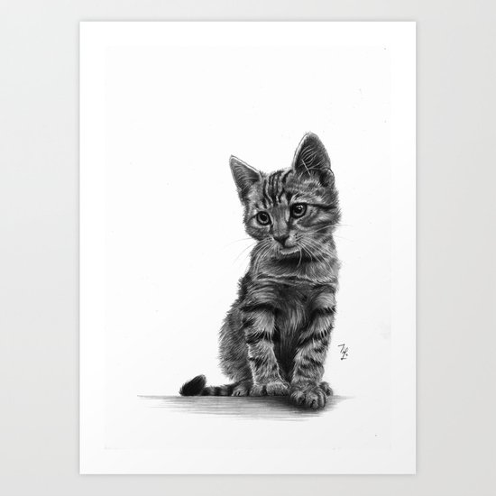 Kitty - PENCIL DRAWING Art Print