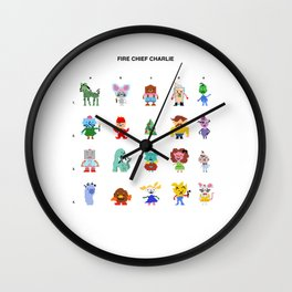 Fire Chief Charlie Pixel Characters Wall Clock