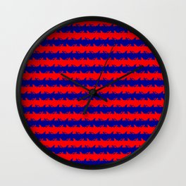 Australian Flag Blue and Red Shark Attack Stripes Wall Clock