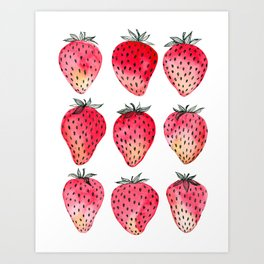 Strawberries watercolor and ink Art Print