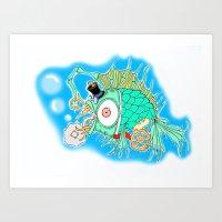 steam punk Art Prints featuring Whimsical Steam Punk Fish by J&C Creations
