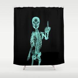 X-ray Bird / X-rayed skeleton demonstrating international hand gesture Shower Curtain
