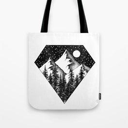Night among the mountains Tote Bag