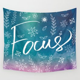 Blue Teal Purple Focus Meditation Spirituality Sucess Typography Floral Illustrations Quote Art Wall Tapestry
