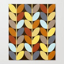 Retro 70s Color Palette Leaf Pattern Canvas Print