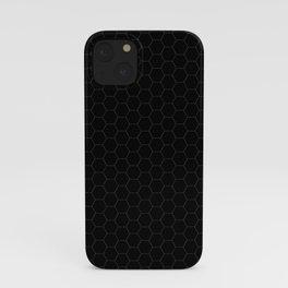 Black Hexagons - simple lines iPhone Case