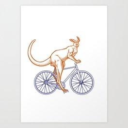 Kangaroo on a bike Art Print