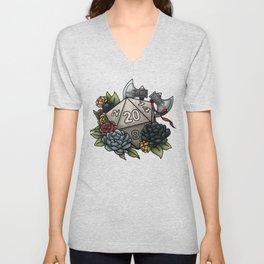 Barbarian Class D20 - Tabletop Gaming Dice Unisex V-Neck